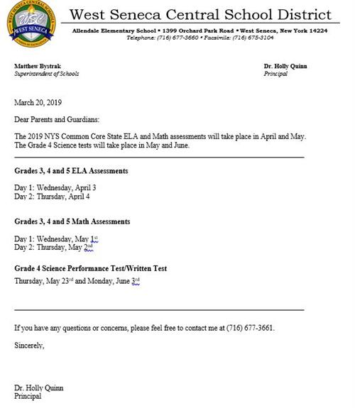 NYS Assessment District Letter 18-19