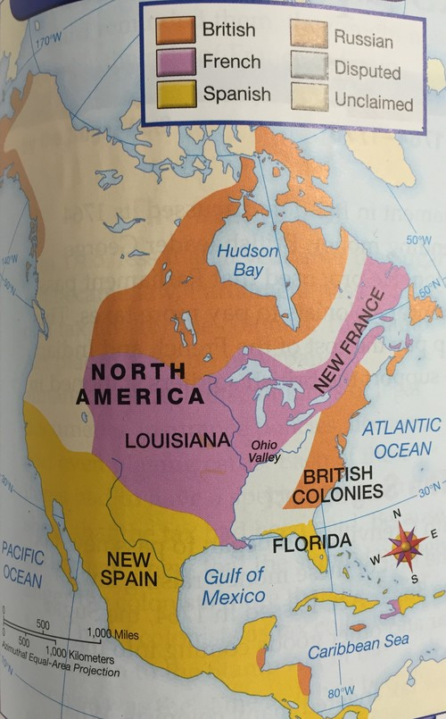 British, French, Russian, and Spanish claimed territory in North America