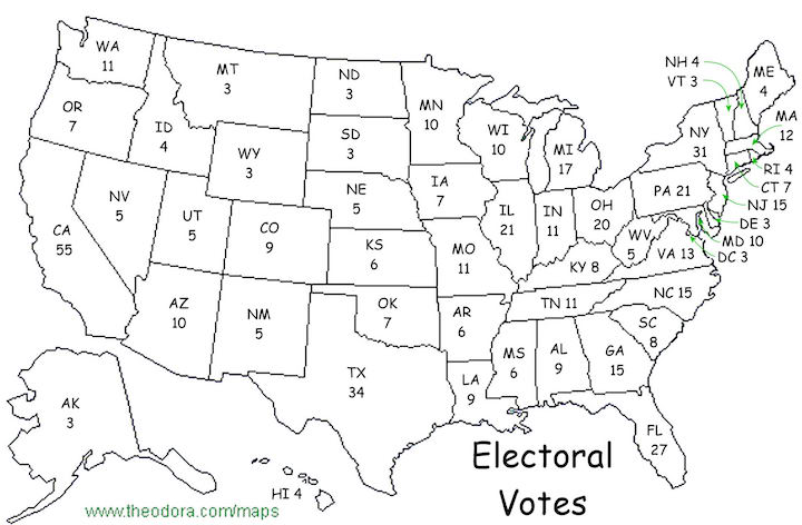 Number of electoral college seats by state