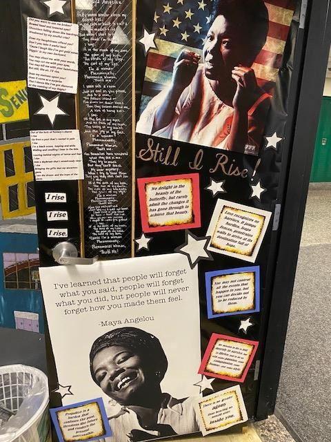Door decorated at East for Black History Month